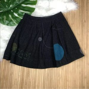 Lithe Gray Wool Pleated Embroidered Circle Skirt